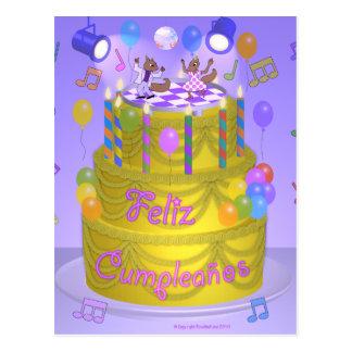 """Happy Birthday"" cake (Spanish) Postcard"