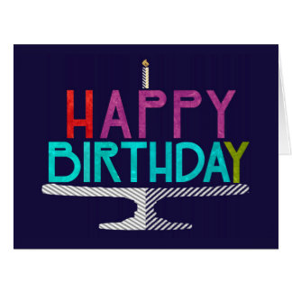 Happy Birthday Cake Typography Greeting Card