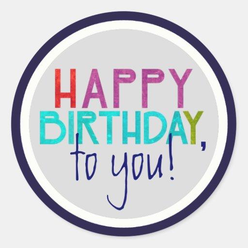 Happy Birthday Cake Typography Sticker (Round)