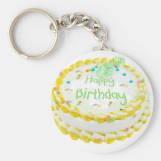 Happy birthday cake with green and yellow keychain