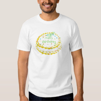 Happy birthday cake with green and yellow T-Shirt