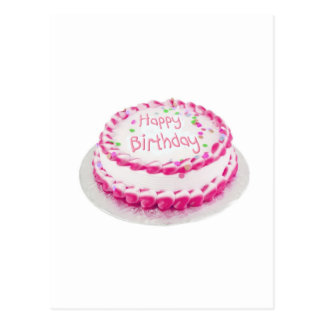 Happy birthday cake with pink frosting postcard