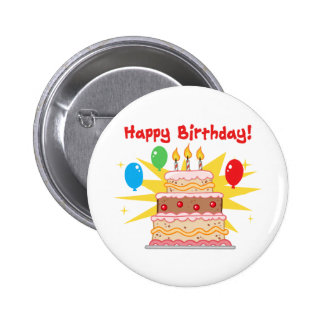 happy birthday cake with three candles pinback button