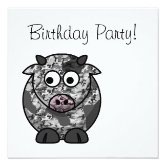 Happy Birthday Camo Cow Card
