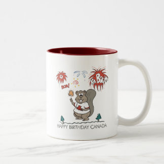 Happy  Birthday Canada Two-Tone Coffee Mug