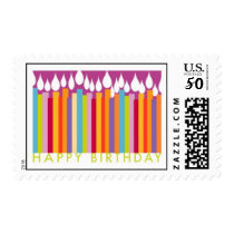 HAPPY BIRTHDAY CANDLE COLORS POSTAGE