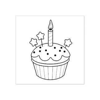 Happy Birthday Candle Cupcake Color Me Rubber Stamp