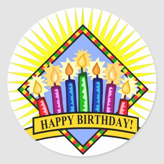Happy Birthday Candles Classic Round Sticker