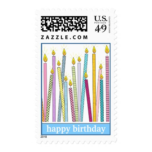 Happy Birthday Candles Galore! in Blue Postage Stamp