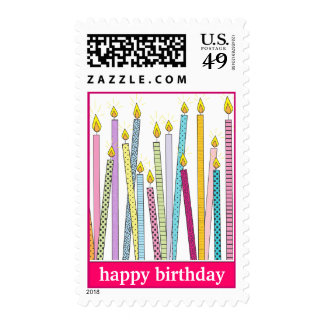 Happy Birthday Candles Galore! in Hot Pink Postage Stamp