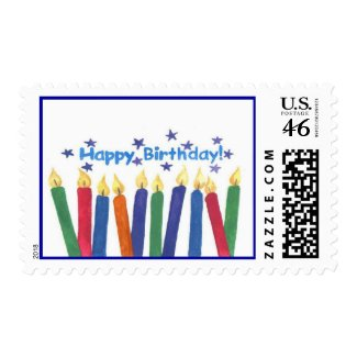 Happy Birthday Candles - Postage stamp