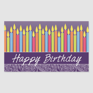 Happy Birthday Candles Rectangular Sticker