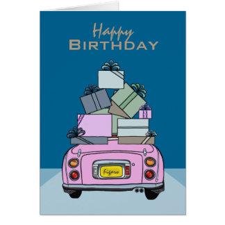 Happy Birthday Candy Pink Nissan Figaro, Custom Card