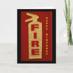 """Happy Birthday Card<br><div class=""""desc"""">Happy Birthday card in red,  black and cream.  Front has a fire extinguisher inside reads """" We are ready for you to bring in the cake   ... .(Happy Birthday)""""</div>"""