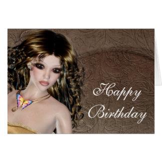 Happy Birthday Card - Brunette Fantasy Woman 1