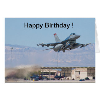 Happy Birthday card F-16 Taking Off