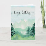 """Happy Birthday Card For Him, Watercolor Mountains<br><div class=""""desc"""">Happy Birthday Card For Him,  Watercolor Mountains.</div>"""