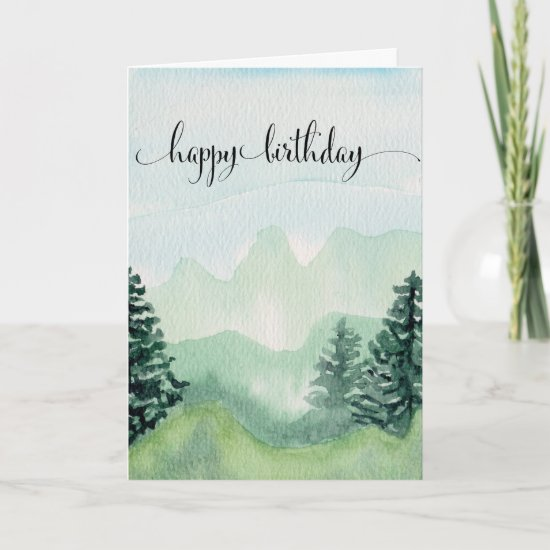 Happy Birthday Card For Him, Watercolor Mountains