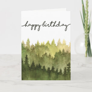 Happy Birthday Card For Him Watercolor Pine Trees
