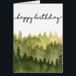 """Happy Birthday Card for Him, Watercolor Pine Trees<br><div class=""""desc"""">This watercolor pine tree forest birthday card will work for any man in your life. Customize with your own message inside or buy several to keep on hand.</div>"""