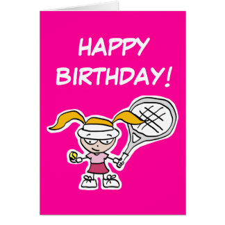 Happy Birthday card for little tennis player