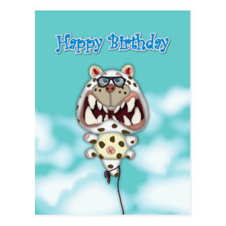 Happy Birthday Card Funny Scared Cat Balloon Post Cards