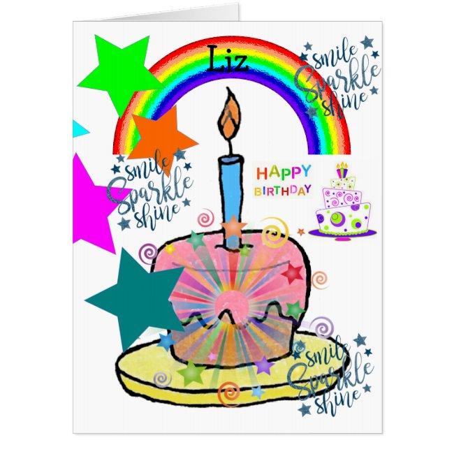 Happy Birthday Card, Large Birthday Card Rainbow