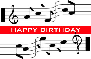 Happy Birthday Card Music Note Score White