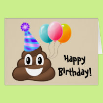 Happy Birthday Card: Party Poop Emoji Card