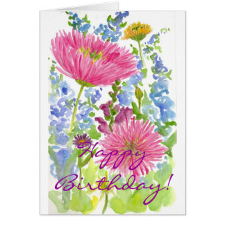 Happy Birthday Card Pink Dahlia Bouquet Watercolor