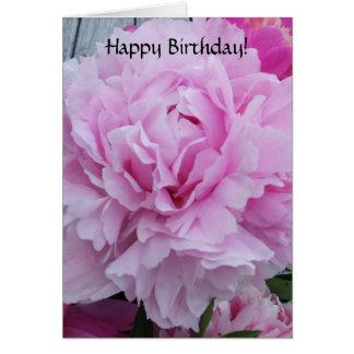Happy Birthday Card Pink Peonies / Peony Flowers