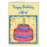 Happy Birthday Card Red Cake on Yellow