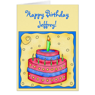 Happy Birthday Card Red Cake on Yellow Greeting Card