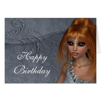 Happy Birthday Card - Redhead Fantasy Woman 2