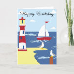 """Happy Birthday Card Sailboat and Lighthouse<br><div class=""""desc"""">Happy Birthday Card Sailboat and Lighthouse.  Great for a husband,  boyfriend,  brother,  uncles or any male"""