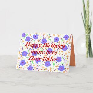 Dear Sister Name Birthday Cards Zazzle