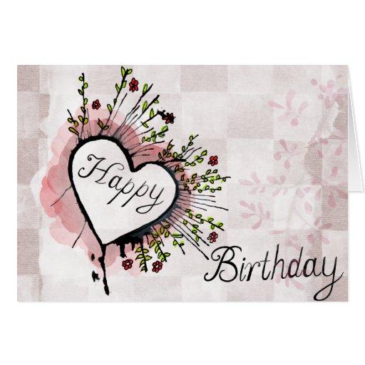 Happy Birthday Card Soft Modern Heart Design Zazzle Modern Happy Birthday Wishes