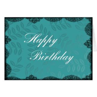 Happy Birthday Card - Teal Vintage Lace