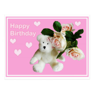 Happy Birthday card Teddy bear and pink rose