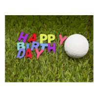 Happy Birthday card to golfer with golf ball