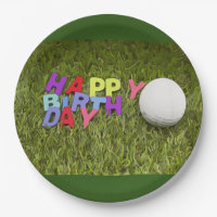 Happy Birthday card to golfer with golf ball Paper Plate