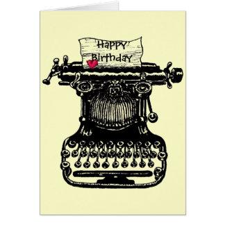 Happy birthday card vintage typewriter drawing