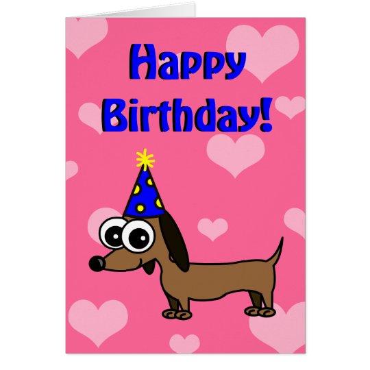 Happy Birthday Card w/ Cartoon Dachshund