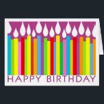 """Happy Birthday Card with Candles - General<br><div class=""""desc"""">General birthday card for friends or relatives.  Customize the inside message as you wish. Matching postage stamp available in gallery.   Teri Francis</div>"""