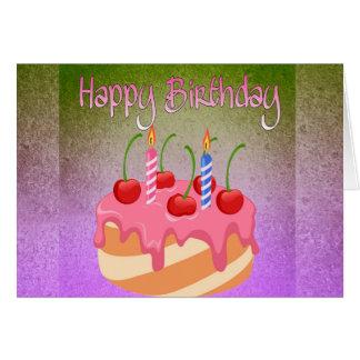 Happy Birthday Card with Cherry Cake