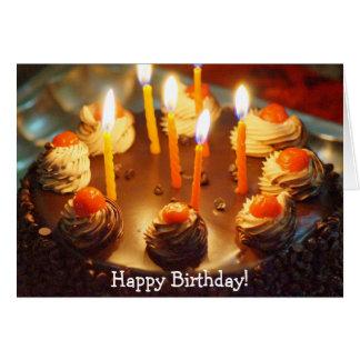 Happy Birthday Card with Chocolate Cake