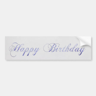 Happy Birthday card with flowers - blue Car Bumper Sticker
