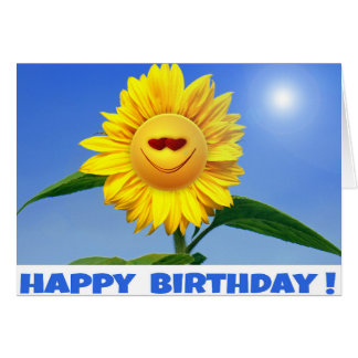 Happy Birthday Card with funny Sunflower