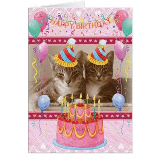 Happy Birthday Card with Happy Cats