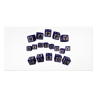 Happy Birthday Carol toy blocks in blue Picture Card
